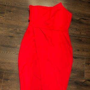 Red strapless asymmetrical midi dress (NWT) XL